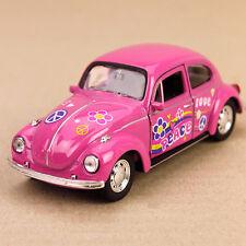 1972 Pink Peace Volkswagen Beetle VW Love Bug Classic Die-Cast Model Car 12cm