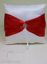 White satin Red ribbon Diamanté Ring Bearer Cushion Pillow Wedding Accessories