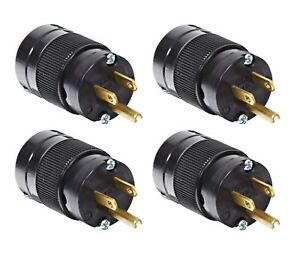 (4 Pack) NEW Marinco 5266BL 15A 125V Standard Edison Male Plug, Black Body