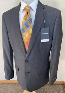 NEW Claiborne Sz 52L Stretch Charcoal Gray Herringbone Sport Coat Blazer Jacket
