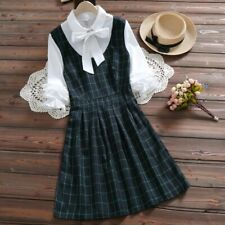 Korean Dress Mori girl Cute Kawaii Blue Plaid Dress Fall S