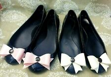 2 Pairs Ted Baker Black ballerina shoe - size UK  6 EU 39 - pink and cream bows