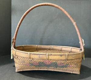Vintage Rustic Country Farmhouse Wooden Oblong Basket Adornments Floral Imprint