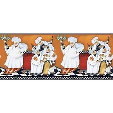 Italian FAT CHEFS A - Cooking BORDER Prepasted Wallpaper Kitchen Cafe Wall Decor