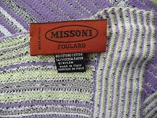 "MISSONI ITALY Scarf DoubleSided Ribbed Loose Knit Purple Green 14""x70"" Oversized"