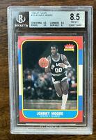 1986 FLEER BASKETBALL #76 JOHNNY MOORE BGS 8.5 NM-MT+ WITH GEM MINT 9.5 EDGES ~~