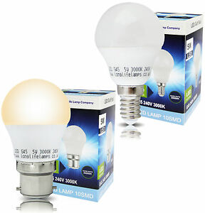 5W Mini LED Frosted Golf Ball B22 or E14 Equivalent 45W Warm White 3000K