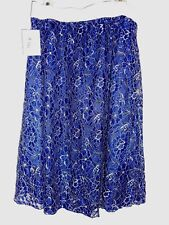 "LARGE LuLaRoe LOLA SKIRT silver shimmer blue purple ""blurple"" lace flowers NWT L"