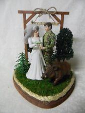 Wedding Party Reception  Git n Hitched Sign Camo Hog Boar  Hunter Cake Topper