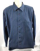 "Johnston & Murphy Mens XL Long Sleeve Shirt ""Denim"" Blue Striped, EUC"