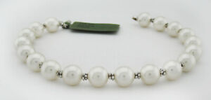"""GENUINE 7 mm PEARLS BRACELET 14k WHITE GOLD * NEW WITH TAG * 7"""" long *"""