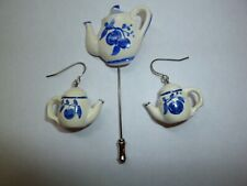 Handpainted Blue and White Ceramic TEAPOT Stickpin + Dangling Earrings - NEW