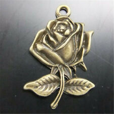 30pcs Vintage Bronze Alloy Rose Flowers Pendant Charms Jewelry DIY Accessories