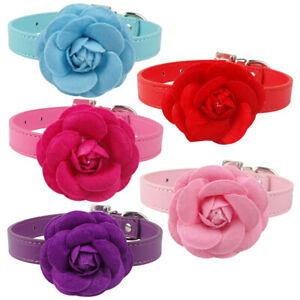 Pet PU Leather Dog Collar Flower Fancy Dog Necklace for Chihuahua Pink XS S M L
