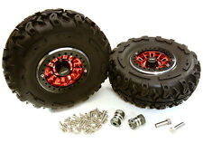 C27039RED 2.2x1.5-in. High Mass Wheel, Tires & 14mm OffSet Hubs for 1/10 Crawler