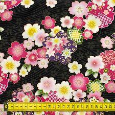 Sakura on black Japanese Oriental Fabric Cotton Fat Quarter FQ #F0033