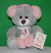Isabel Teddy Bear with Head Phones Grey and Pink Plush 24cm