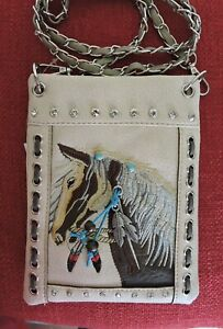 Off White Equestrian Embroidered Horse Head Small Cross-body Messenger Bag