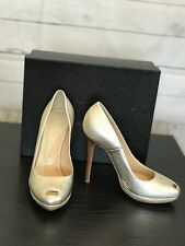 HERVE LEGER Woman's Gold Peep Toe Heels Evening Party Pumps Sz 38 1/2 NIB