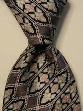STEFANO RICCI Men's Silk Necktie ITALY Luxury Geometric Gray/Silver/Black EUC