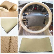 36cm/14'' BEIGE Car Steering Wheel Cover w/Needle Thread Genuine Leather
