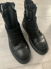 Kris van assche Zapatos Botas Zapatillas De Cuero Negro 42 8 diseñador belga Goth