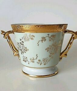 Vintage Castel Limoges Porcelain Planter Vase Duck Egg Blue Gilt Floral