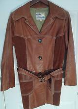Vintage Pioneer Wear Tan Suede & Leather Belted Coat Jacket - Sz 12 - Boho!