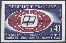 COMMUNICATION RADIODIFFUSION N°1515 TIMBRE NON DENTELÉ IMPERF 1967 NEUF ** MNH
