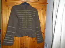 Brown cotton lined jacket with braiding detail, PRINCIPLES, size 14