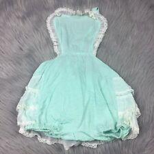 Vintage 50s Mint Green White Lace Sheer Ruffle Sunsuit Romper Toddler Girls