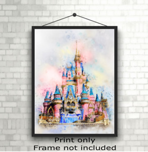 Disney Princess Castle Children's Bedroom Wall Art Print Picture Gift A5 A4 A3