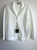 New Massimo Dutti Guipure lapel shirt White collared Perforated Sz 2