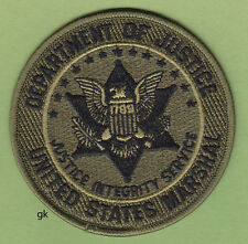 US MARSHAL DEPARTMENT OF JUSTICE SHOULDER PATCH (Subdued -Green)