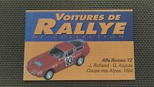 Certificat Voiture De Rallye De Collection « Alfa Roméo TZ »TBE.