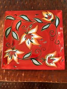"Gail Pittman 13"" Square Plate Platter Red Bountiful Flowers Preowned"