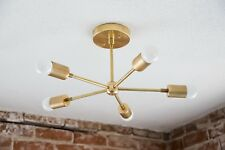 Gold Brass 5 Arm Mid Century Sputnik Chandelier