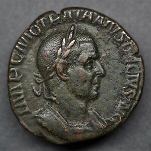 SUPERB BRONZE SESTERTIUS OF TRAJAN DECIUS: GENIUS. ROME, AD 250-51. E.F+