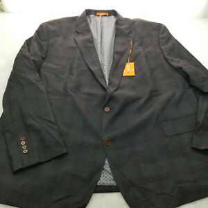 Tallia Men's Slim-Fit Wool Plaid Suit Jacket NAVY/GRAY 58R NEW WITH TAGS $425