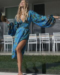 Chasing Unicorns Dress NWT Night Moves Silk Satin Balloon Sleeve