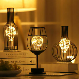 Metal Cage Table lamp Battery Powered Night Light LED Fairy Starry String Lights