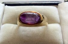 Stunning Vintage Stamped Unusual Solid Heavy 14K Gold Cabochon Amethyst Ring