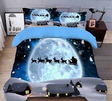 3D Moon Reindeer N470 Christmas Quilt Duvet Cover Xmas Bed Pillowcases Fay