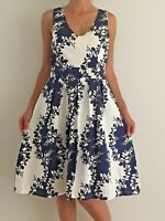 Women's Sleeveless V-Neck Navy White Floral Evening Races Cocktail Midi Dress