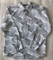 BILLABONG Men's Long Sleeve Button Shirt - Black & White- Size L