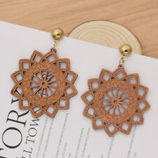 African Ethnic Wooden Earrings Vintage Dangle Drop Ear Stud Jewelry for Women