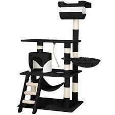 Arbre à chat griffoir grattoir geant avec hamac lit 141 cm hauteur noir blanc