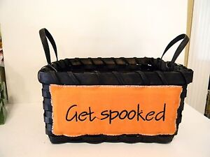 BLACK WICKER BASKET GET SPOOKED HALLOWEEN TRICK OR TREAT DECORATION