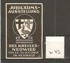 CINDERELLA -W63- GERMANY - JUBILAUMS AUSSTELLUNG - DES KREISES - NEUWIED - 1925