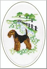 Welsh Terrier Birthday Card or Notecard  Embroidered by Dogmania